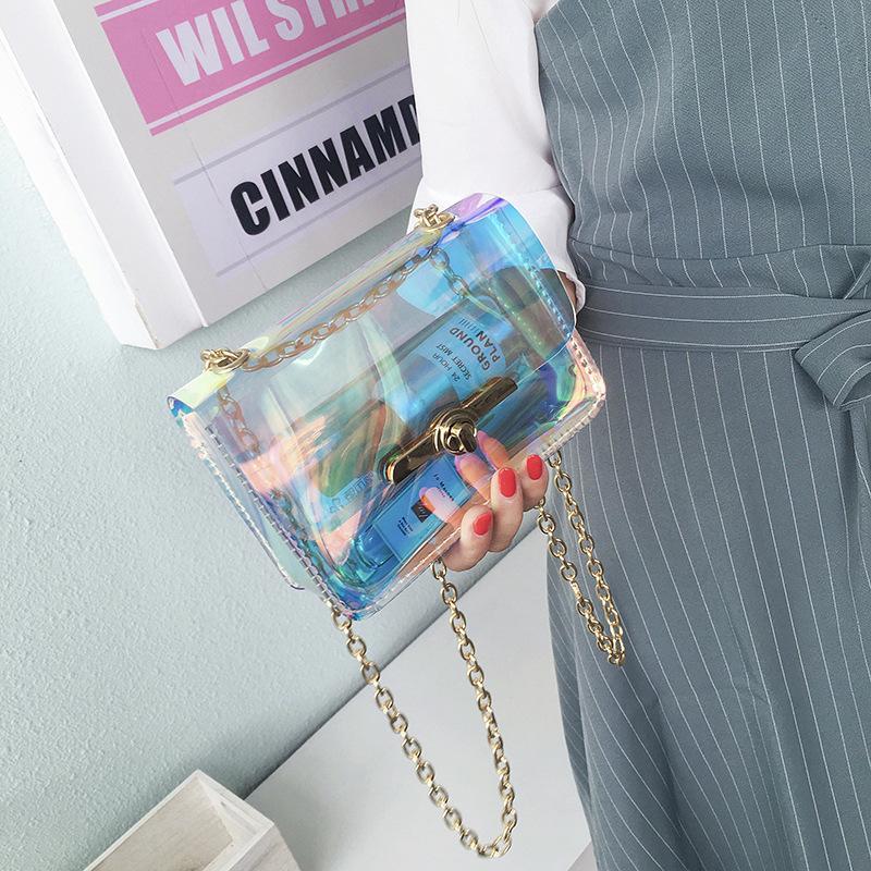 ... Wanita Musim Panas Tas Pantai PVC Tas Jeli Transparan Hologram Tas Pundak Korea Tren Kecil Tas ...