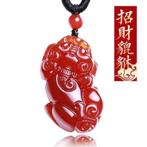 Berwarna Merah untuk Mourn untuk Fall untuk Merekrut Kekayaan Pi Xiu Giok Kalung Pria dan Wanita