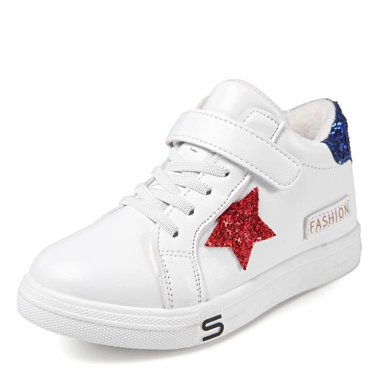 Anak-anak sepatu putih kecil 2018 musim gugur model baru Anak prempuan  Sepatu Sepatu katun 567e5201cc
