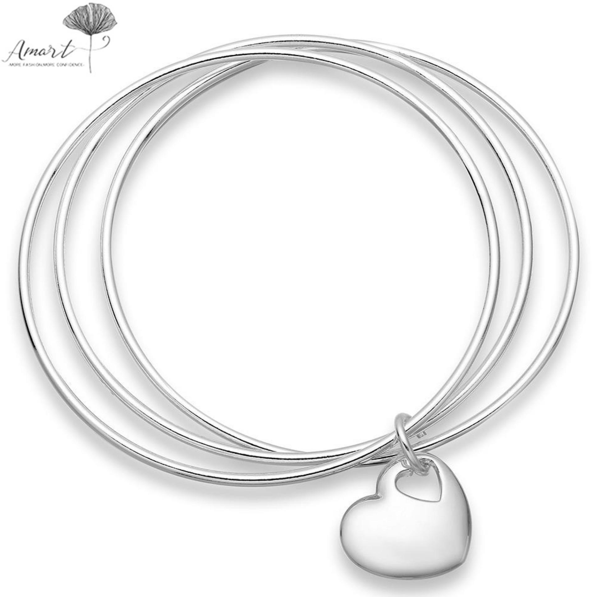 Amart Korean Fashion Women Jewelry 925 Sterling Silver Triple Circle Heart Bangle Bracelet - intl