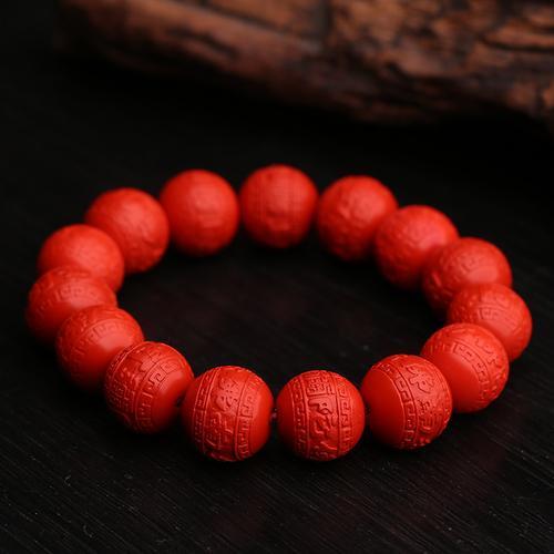 Asli Sinabar Merah Ukiran Kembali Manik-manik Cincin Tunggal Gelang Gelang Pria dan Wanita Yang