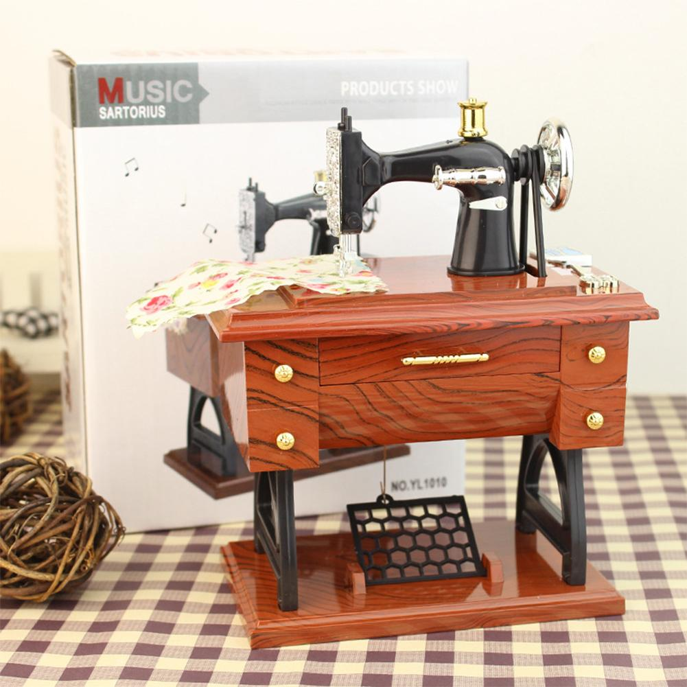 AD Hot Vintage Simulation Sewing Machine Music Box Retro Treadle Sartorius Decoration as Gifts Style:12 * 7.7 * 16cm