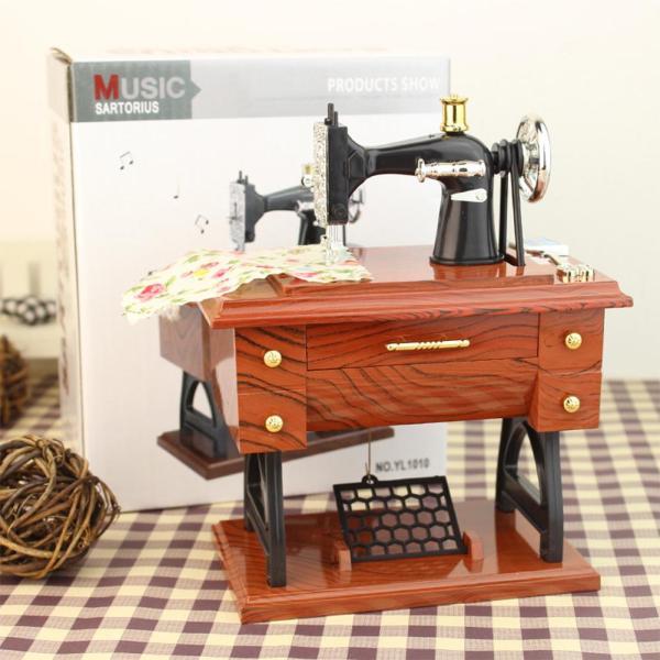 AD Hot Vintage Simulation Sewing Machine Music Box Retro Treadle Sartorius Decoration as Gifts Style:12 * 7.7 * 16cm