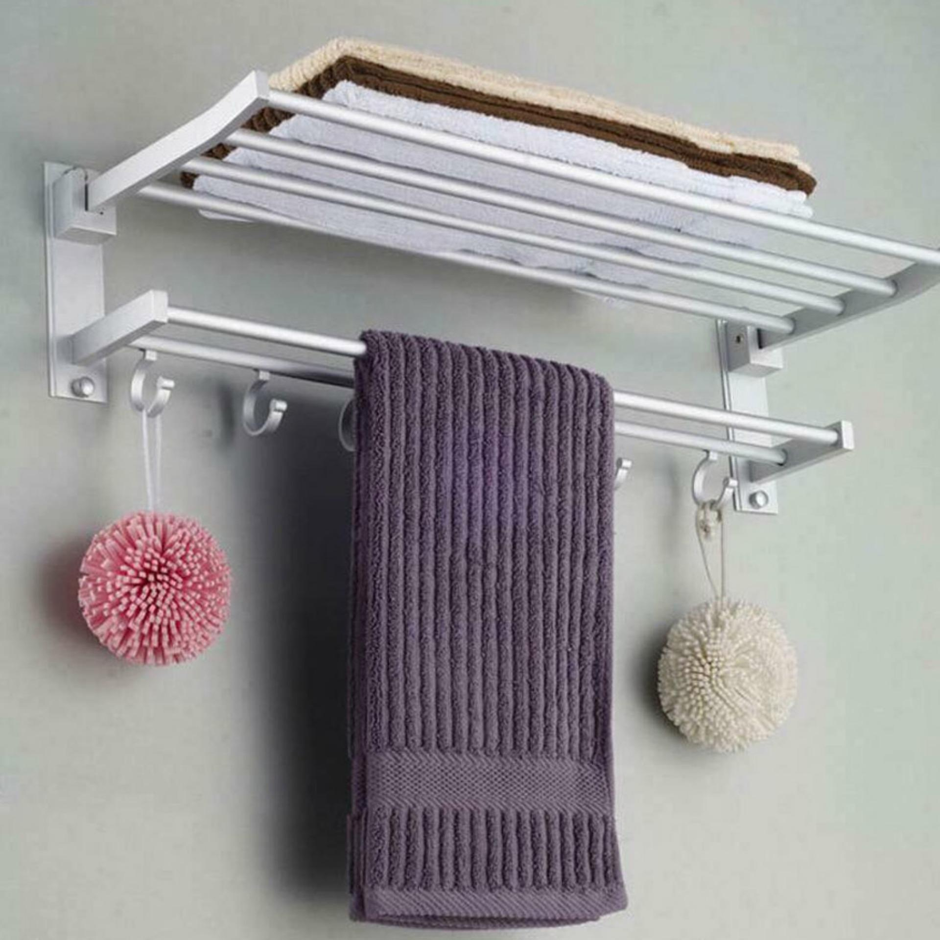 Double Layer Wall Mounted Curve Bathroom Towel Rack With Hook