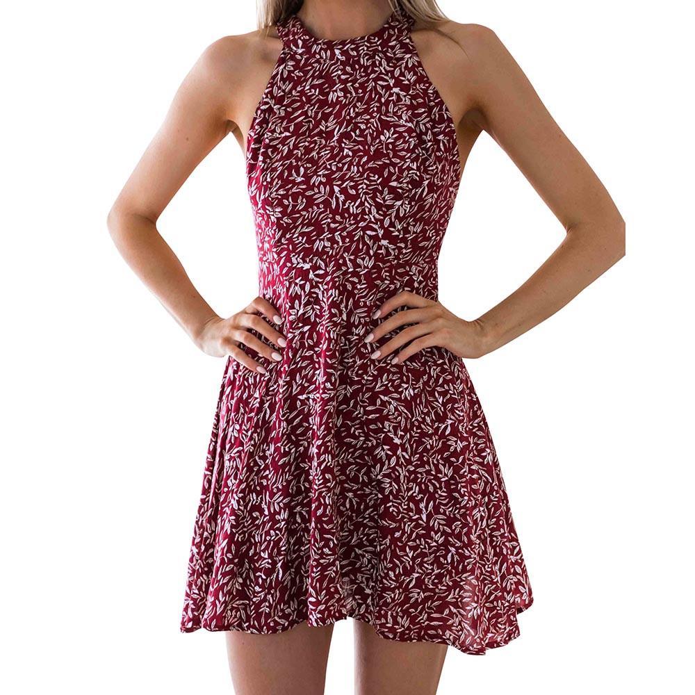 8e0a49a2c9e Simpyfine Women Hanging Neck Bandages Dress Ladies Summer Floral Print  Party Dress