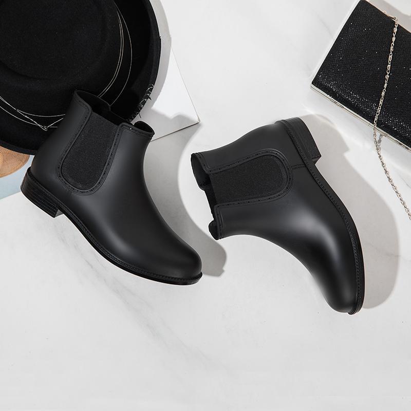 Musim gugur musim dingin modis sepatu bot hujan Pendek Tambah beludru Anti Selip .