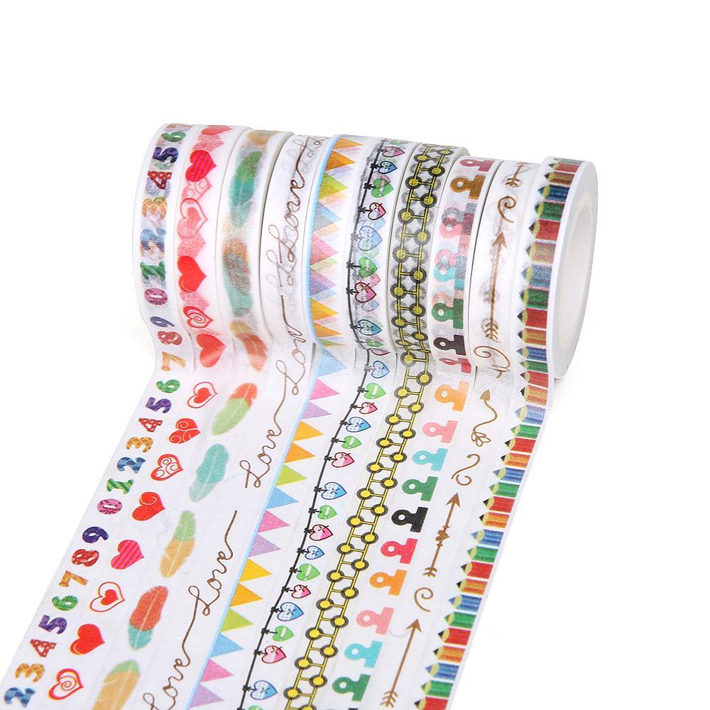 Mua 10Pc/Set Scarbooking 8mm*10m Kawaii Washi Tape DIY Adhesive Tape Photo Album Decor Scotch Tape - intl