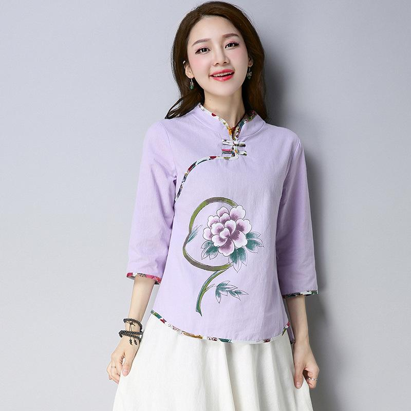 2ee5c455920a4d 2018 Real Chinese Clothing Chinese Style Women s Clothing Buckle Cheongsam  Shirt Ancient Costume Cotton Tea Clothing