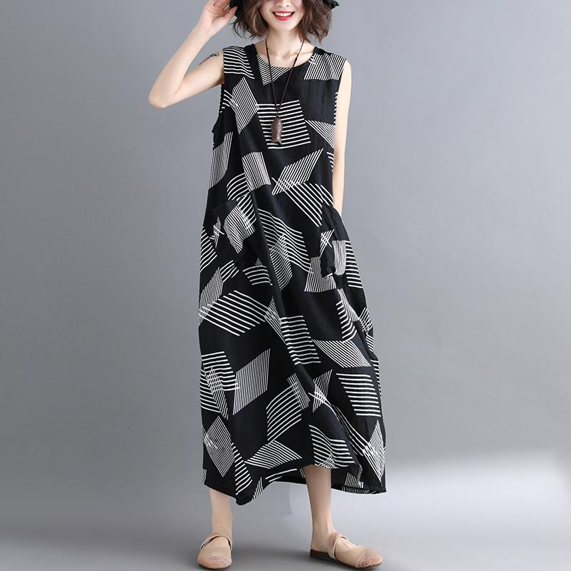 d40031010be By Age Slimming Cover Belly Dress Large Size Female New Style Summer Wear  Geometric Stripes Tank
