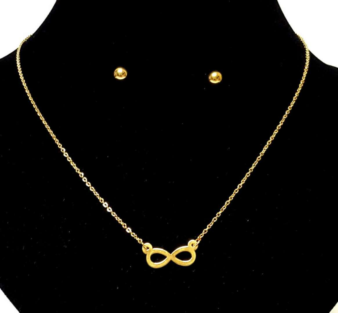 Stainless Gold Fashion Necklace and Earrings Jewelry Set (Infinity-Round)