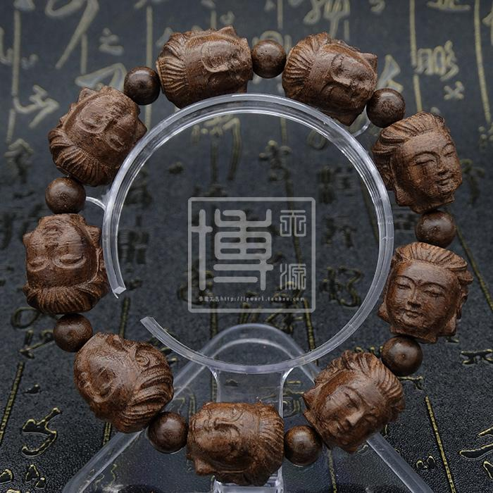 MAC XS Black Tan skin black wood agalloch Buddhist prayer beads hand string carvings view the sound statue of Buddha sandalwood wood counteract evil force to protect a body men and women style bracelet - intl