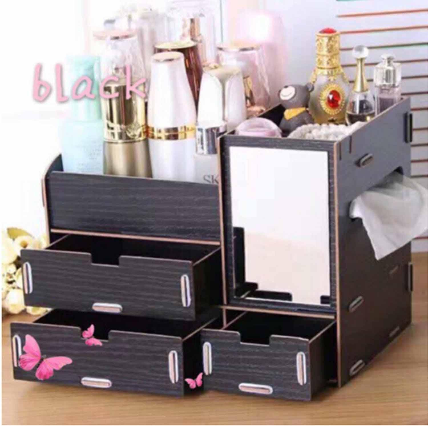 DIY Wooden Makeup make up Organizer with Mirror (Black) Philippines