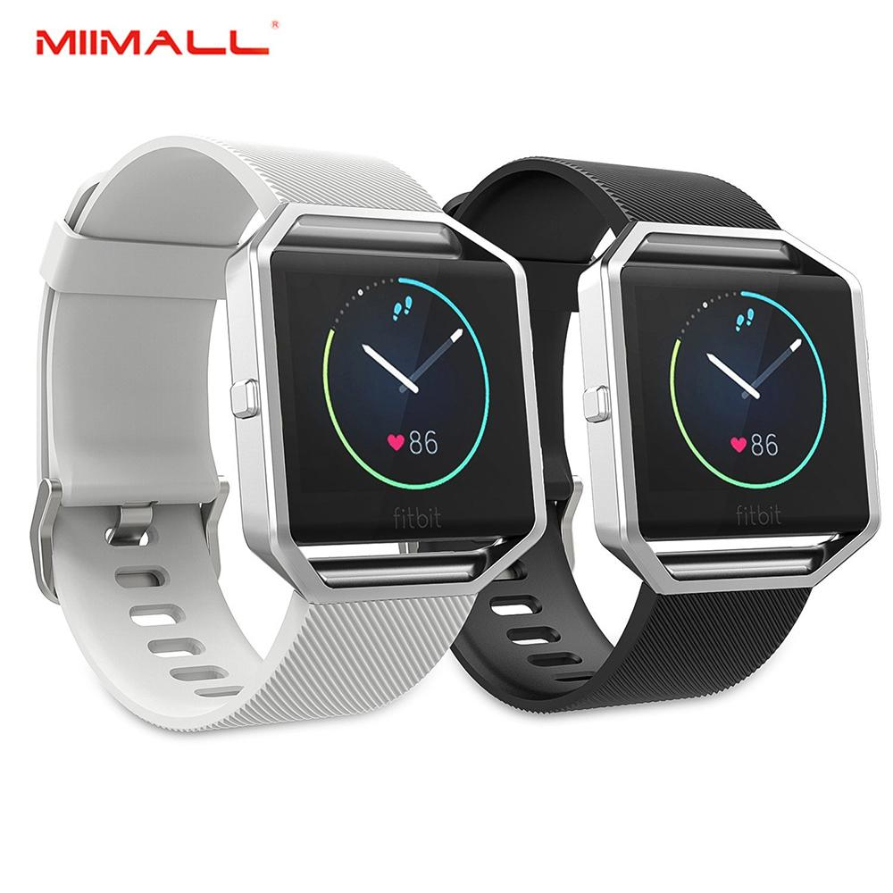 [2 PACK] Miimall Fitbit Blaze Band with Stainless Steel Frame, Soft Silicone Adjustable
