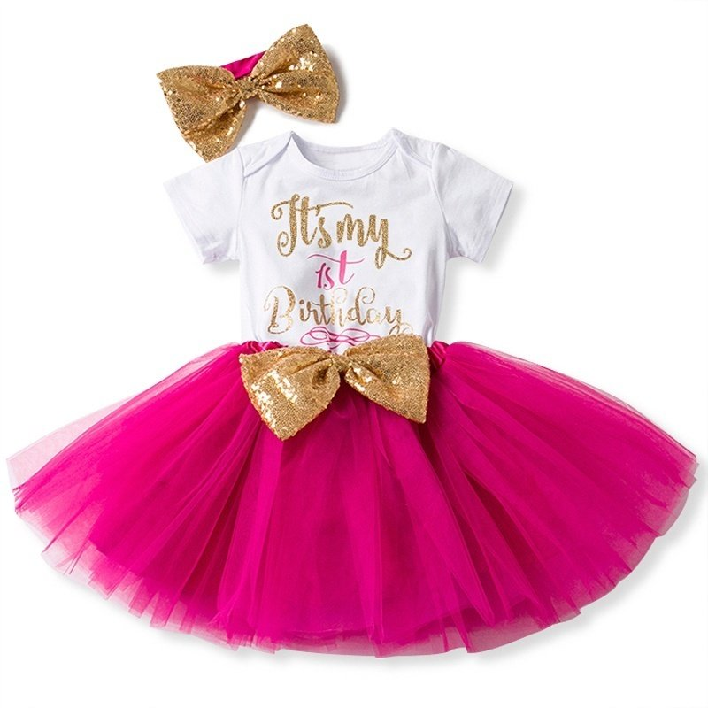 Product Details Of One Year Old Baby Girl Birthday Outfits Lovely 3 Pcs Sets Sequins Bow Headband Rompers Summer Tulle Mini Dress