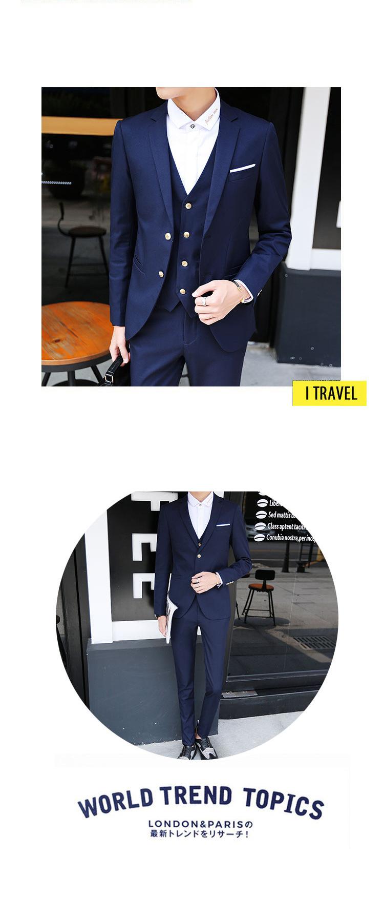 7e63cc70a (Blazer+Pants+Vest) Fashion Men's Suit Shine Patterns Casual Men Stage  Clothing Wedding Groom Vintage Mens Suits - intl