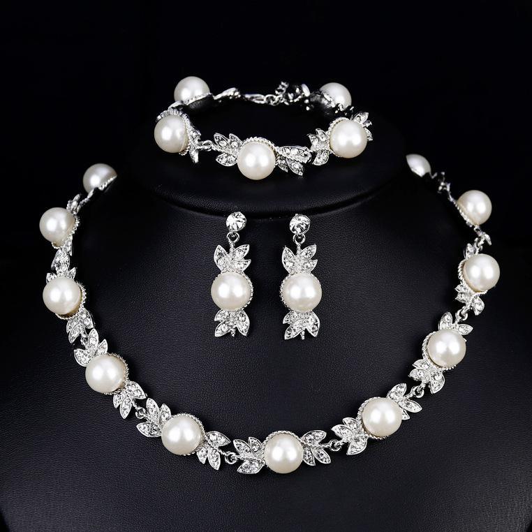 Starmall Wanita Bridal Set Perhiasan Permata Tiruan Kalung Mutiara + Anting-Anting + Gelang untuk