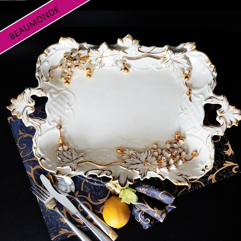 European Style Ceramic Fruit Plate High Base Fashion Creative Living Room Restaurant Teapoy Table Decoration 58 Decorations Gift