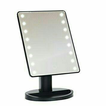 Illuminated Desktop table make up mirror with LED with free double AA batteries (black) Philippines