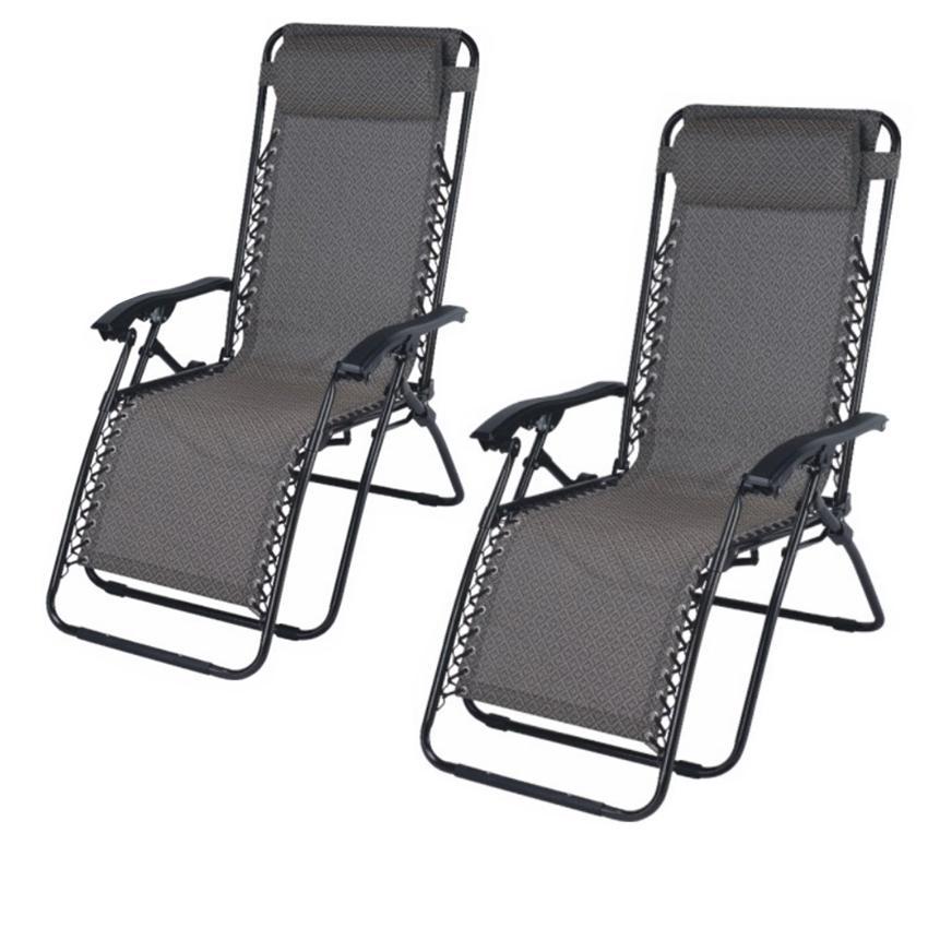 Zero Gravity Relax Recliner Folding Chair Set Of 2 Black