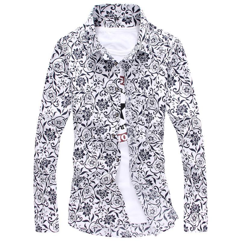 YMV Men's Korean-style Fashionable Print Long Sleeve Shirt (B09) (B09)