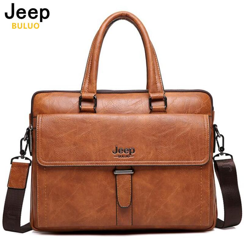JEEP BULUO Brand Men Tote Casual Briefcase Business Shoulder Bag Brown  Leather High Quality Messenger Bags 04d491c7b9067