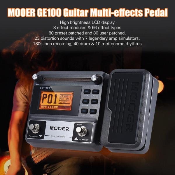 MOOER GE100 Guitar Multi-effects Processor Effect Pedal with Loop Recording(180 Seconds) Tuning Tap Tempo Rhythm Setting Scale & Chord Lesson Functions Malaysia