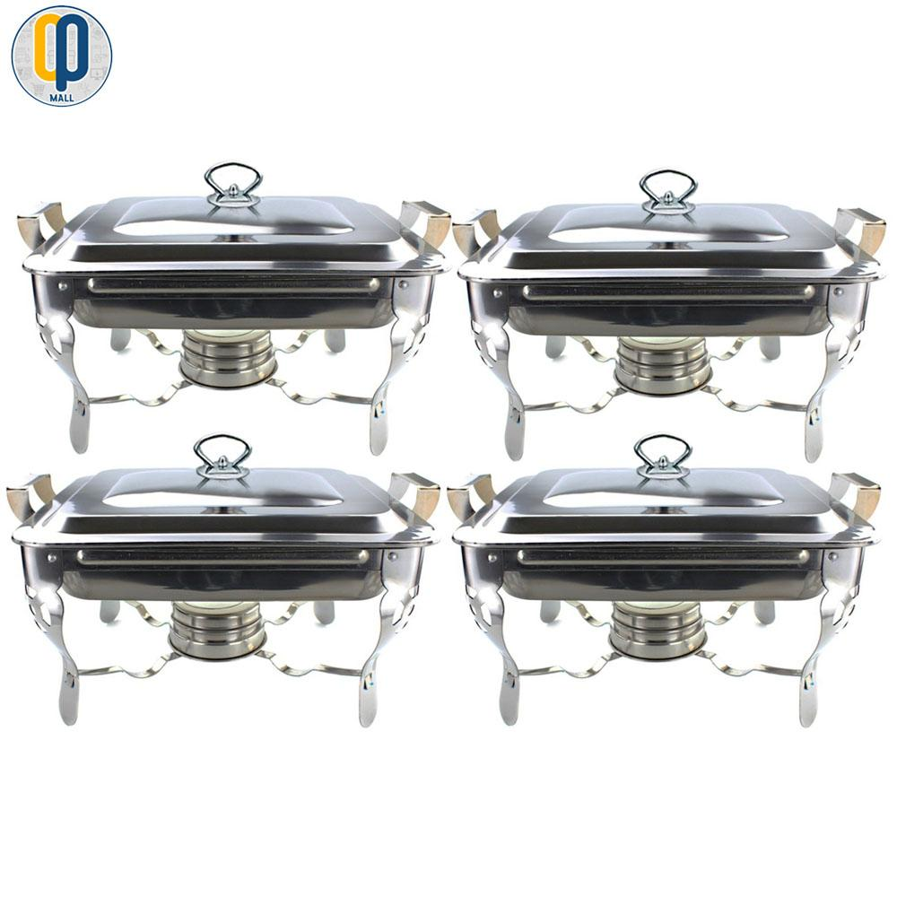 4 Pieces Stainless Steel Food Warmer Chafing Dish With Fuel Alcohol Holder By Op Mall.