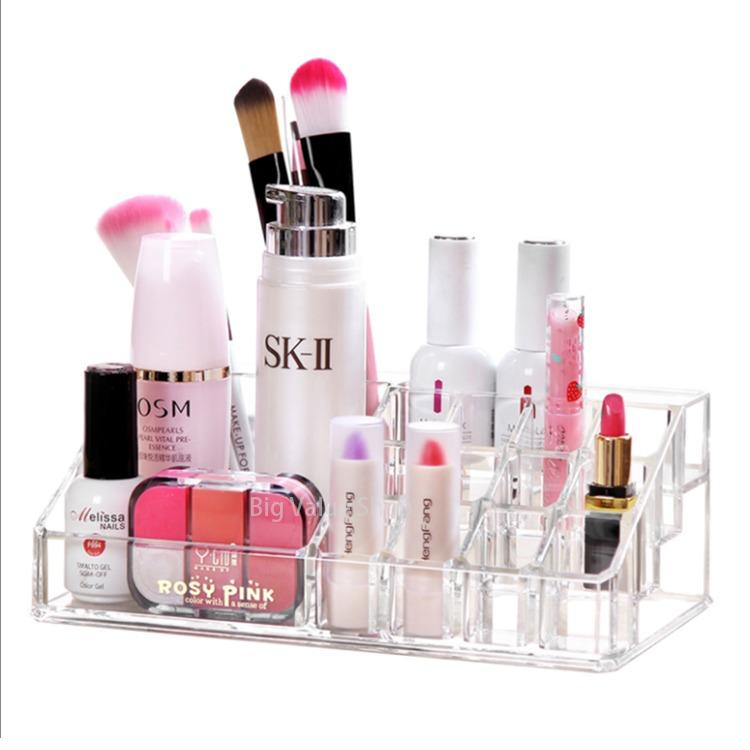 Clear Acrylic Cosmetic Makeup Storage Organizer Box Lipstick Standholder Display Rack Make Up Brush Eyeshadow Nail Varnish Polishcase Container - intl Philippines