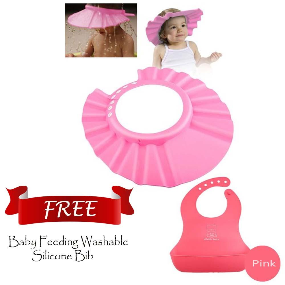 2ded7b08f27 Adjustable Baby Toddler Hat Kids Bath Shower Cap WITH Baby Feeding Washable  Silicone Bib