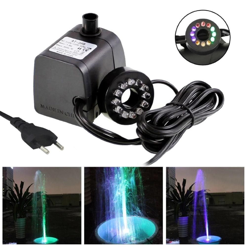 Mini Submersible Water Pump with LED Light for Aquariums KOI Fish Pond Fountain Waterfall