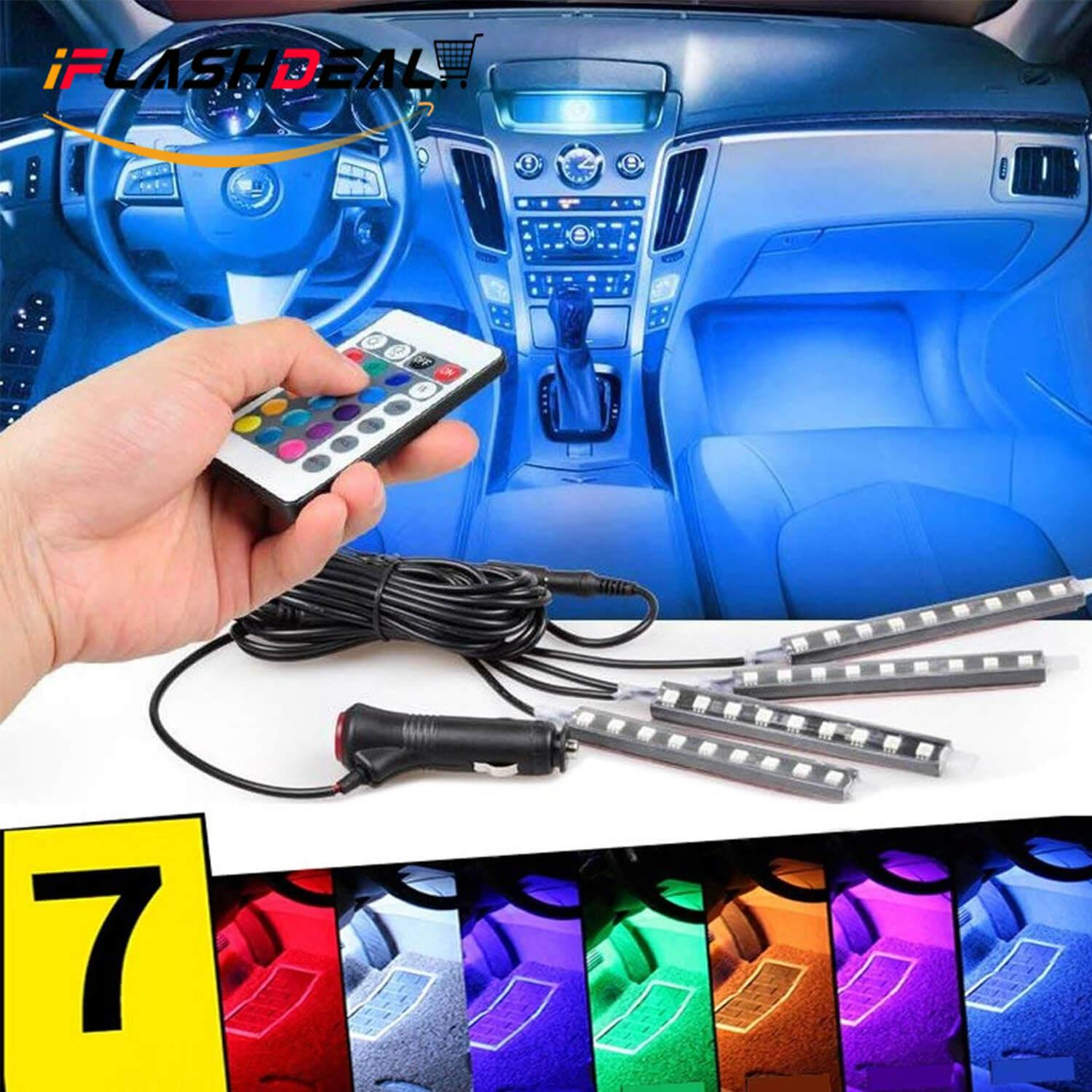 Iflashdeal Car Led Strip Light, 4 Pcs 36 Led Remote Control Multi Color Car Interior Lights Under Dash Lighting Kit By Iflashdeal.