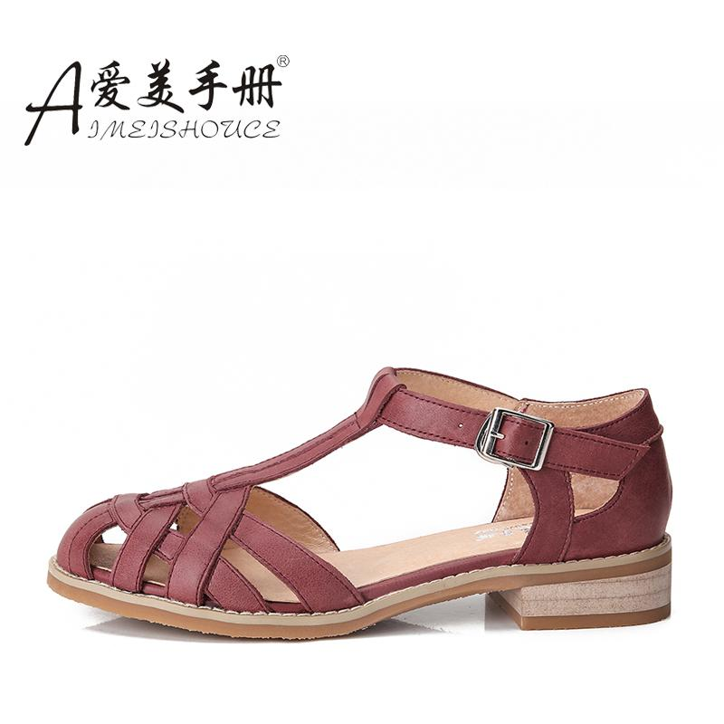 Pengguna Kecantikan Perempuan Datar Ukuran Besar Sepatu Wanita Modis Sandal Musim Panas (Merah Marun Kulit Babi Nelly)