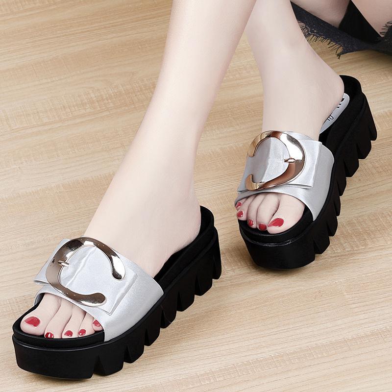 2019 model baru sandal Gaya Korea hak wedges sendal adem perempuan pakaian luar musim panas tumit ...