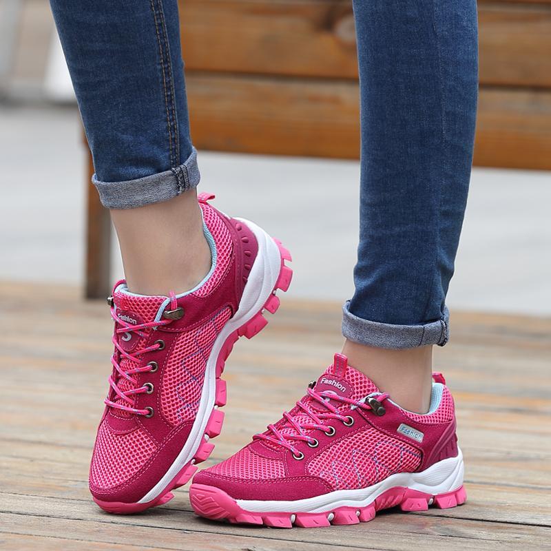 ... MENTEE Wanita Luar Sepatu Hiking Mesh Bernapas Sneakers Sepatu Kasual - 3 ...