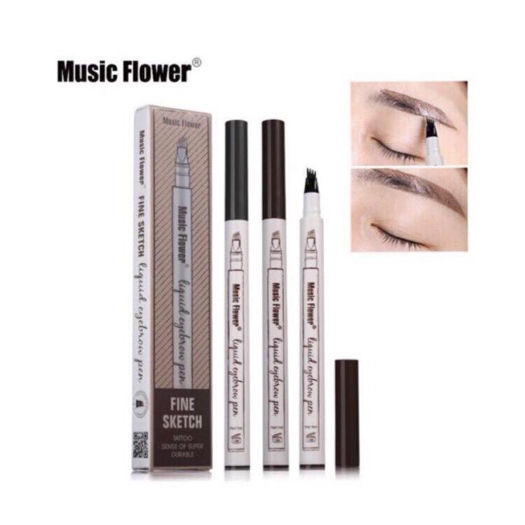 Music Flower Brand Makeup Fine Sketch Liquid Eyebrow Pen Waterproof Eyebrow Tattoo (Chestnut) Philippines