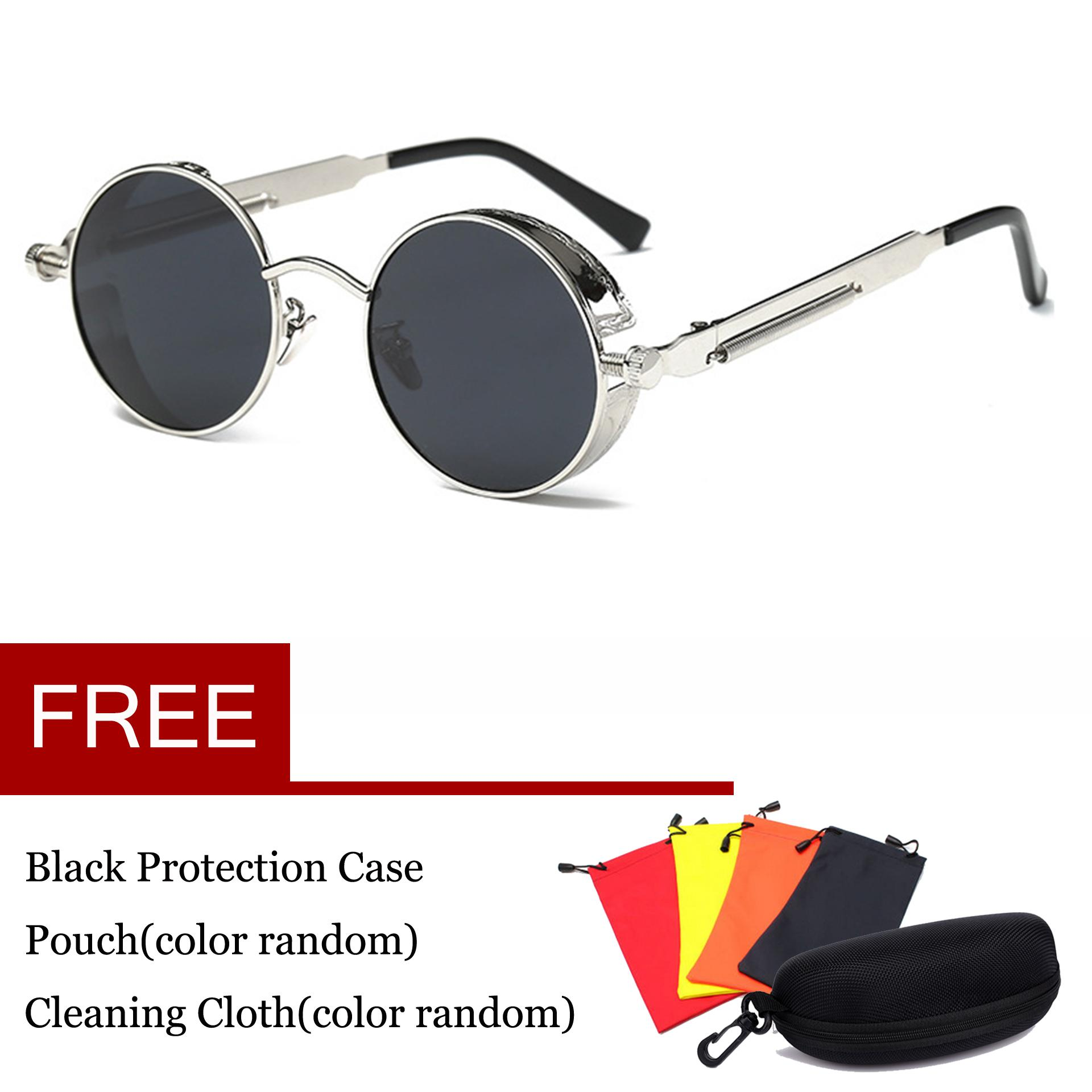 3f80687e89 Vintage Polarized Steampunk Sunglasses Fashion Round Mirrored Retro Eyewear  Silver Grey - intl