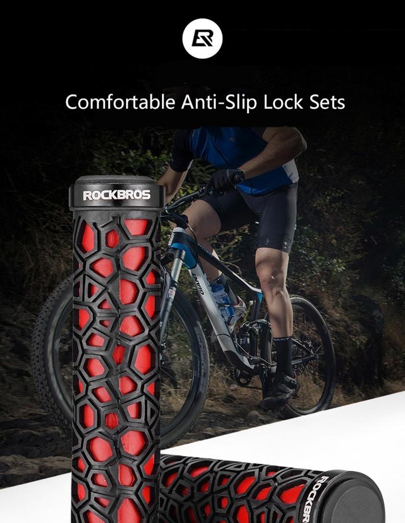Woho MTB Bike Cycling Handlebar Grips Rubber Lock-on Grips Fixed Gear