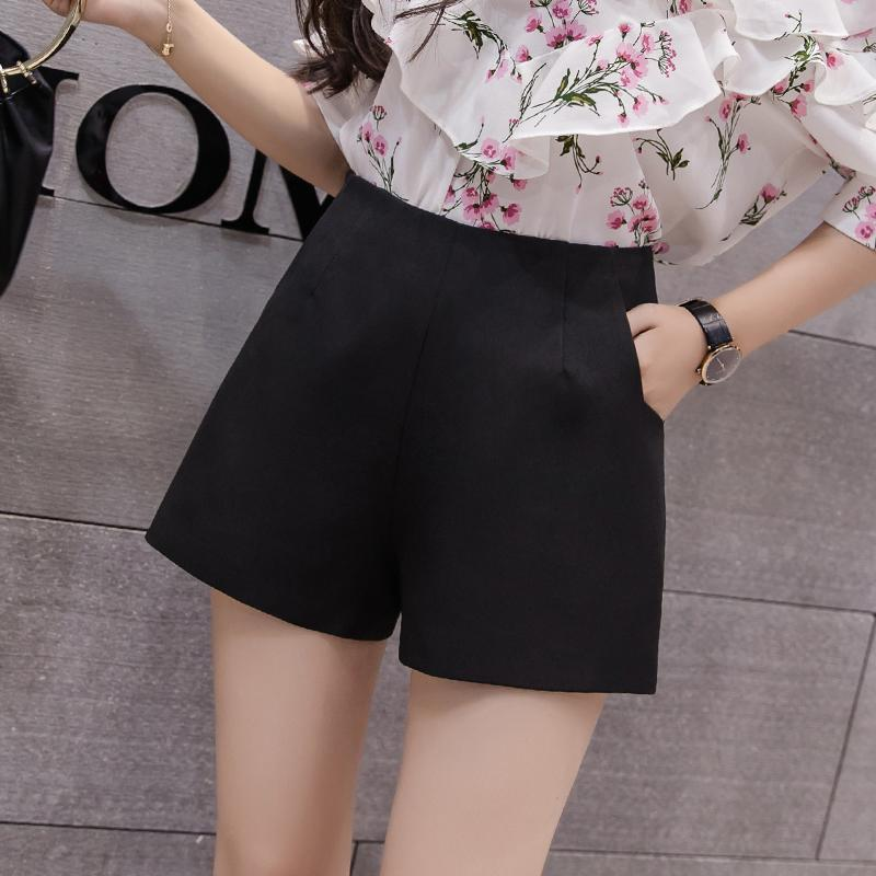 5ca3ef1fc5c1 High-waisted Slimming Black Wide-leg a Word Shorts Female Summer New Style  Korean
