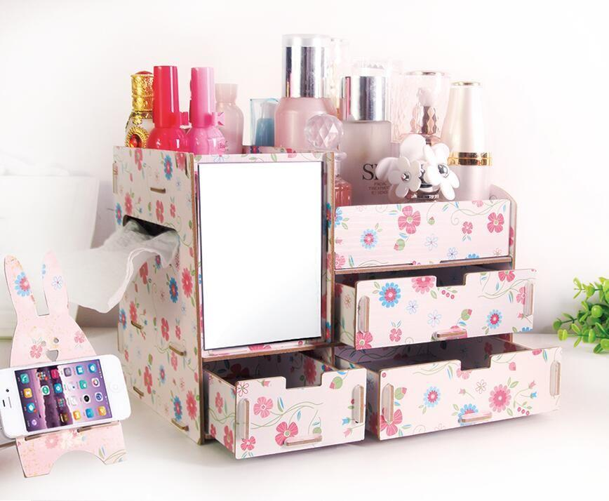 Phoebes Wooden Diy Make Up organizer accessories Box with mirror and tissue dispenser FREE CP holder (DAISY FLORAL) Philippines