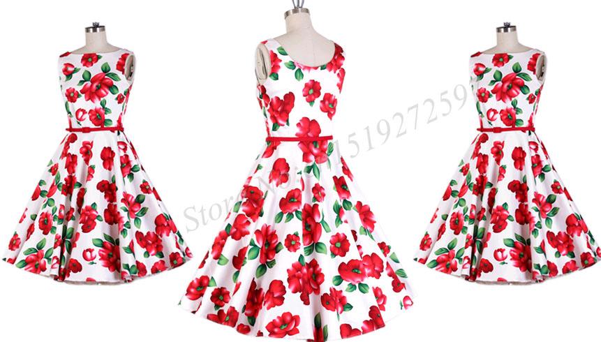 Summer Dress 2017 Audrey Hepburn Women Retro Vintage 1950s 60s ... 79f4aebc3412