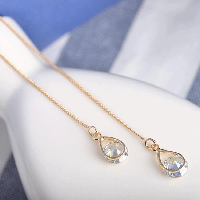 ... Anting Kristal Liontin Kalung Jumbai Telinga Line Perhiasan Anting-anting Panjang - 4