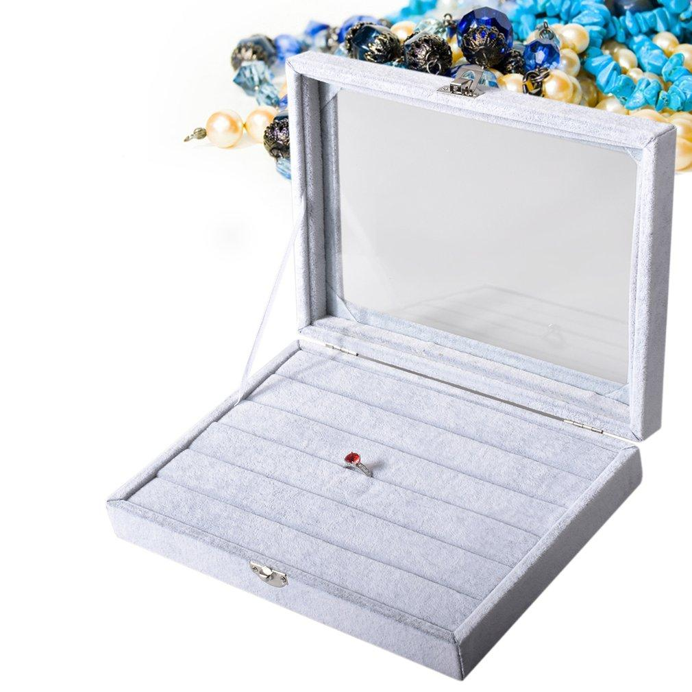 Grey Velvet Glass Rings Jewelry Box 100 Rings Display Show Case Holder