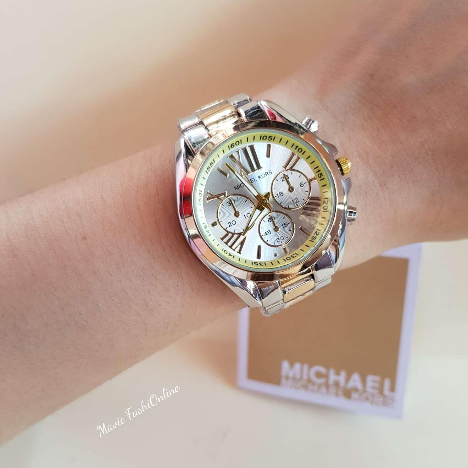 Michael Kors Philippines Watches For Women Sale 3131 Two Tone White Dial Bradshaw Womens Watch