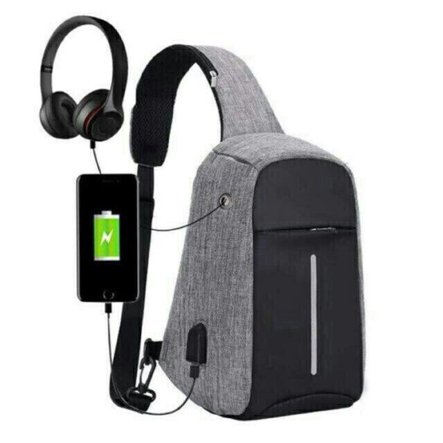 Philippines. Men s Anti Theft Chest Sling Shoulder Bag with USB Port for  Powerbank 592a4d295388d