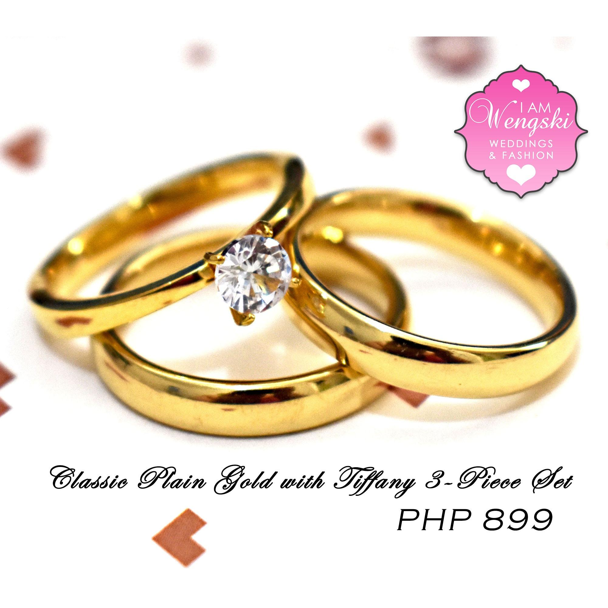 I Am Wengski Stainless Steel Classic Plain Gold With Tiffany 3 Piece Wedding  Couple Ring