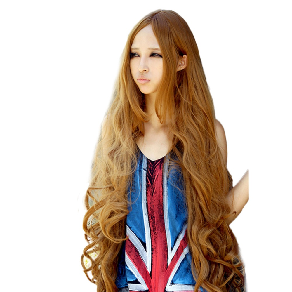 Product details of Women Long Curly Wave Hair Wig Lolita Anime Wig Cosplay Hair Wig 100cm - intl