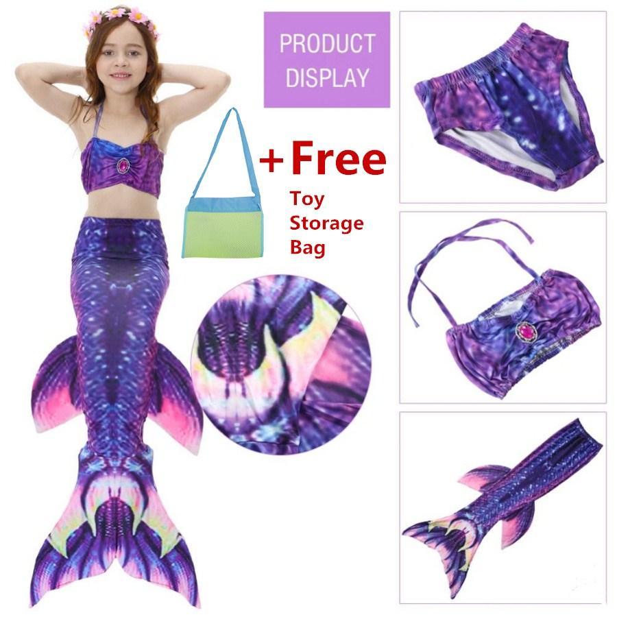 【Free Gift】Kids Girls Swimsuit Bikini Set with Mermaids Tail Sea-maid Swimming