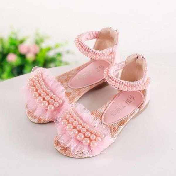 Giá bán Bé Gái mùa hè Chiếu Trúc Hạt Giày Sandal Trẻ Em Phẳng Dây Kéo Công Chúa (Hồng)