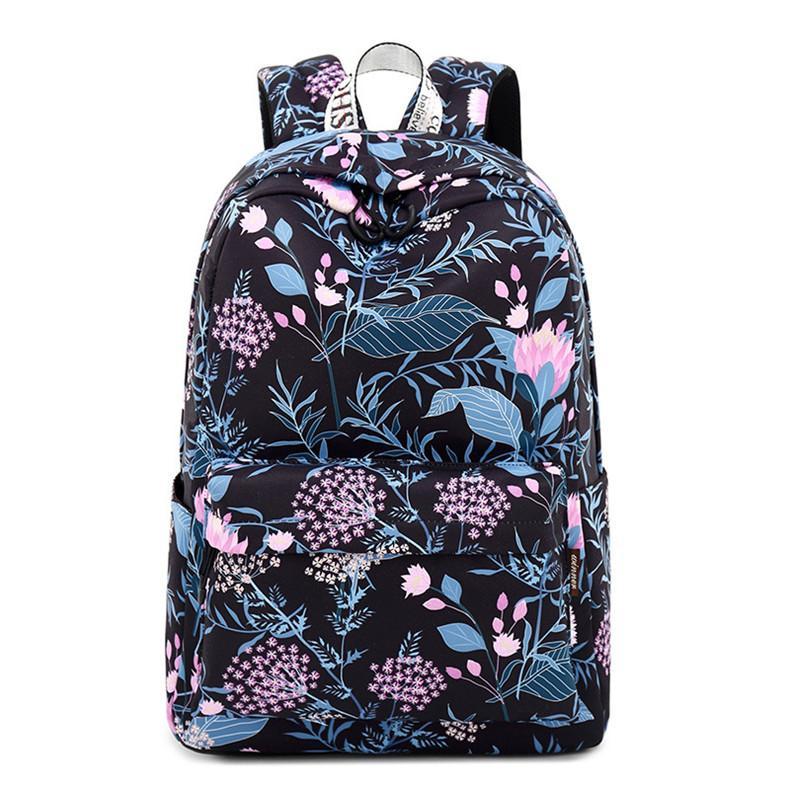 Fashion Tahan Air Ransel Wanita Bunga Ransel Sekolah Cetak Anak Perempuan Setiap Hari Ransel Berpergian Laptop Mochila (Ukuran Kecil)-Intl
