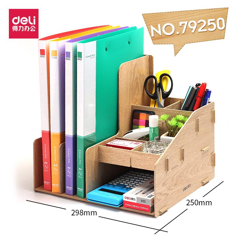 Document Holder Bookshelf Deli Desktop Simplicity Diy Storage Wood Hanaper Students Office Desk Information Rack Storage Box Multi-Functional Storage Organizing Plaid By Taobao Collection.